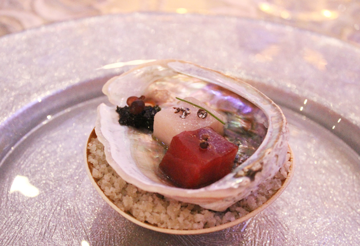Cogley's tuna, hamachi and preserved seaweed in an abalone shell.