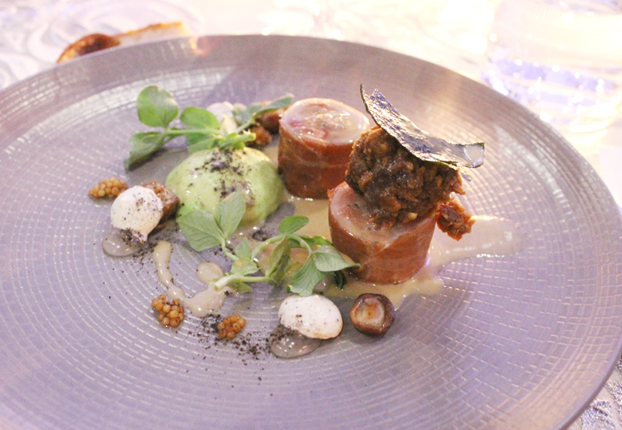 Bedford's prosciutto-wrapped quail with peas, vegetable ash and lemon morel cream.