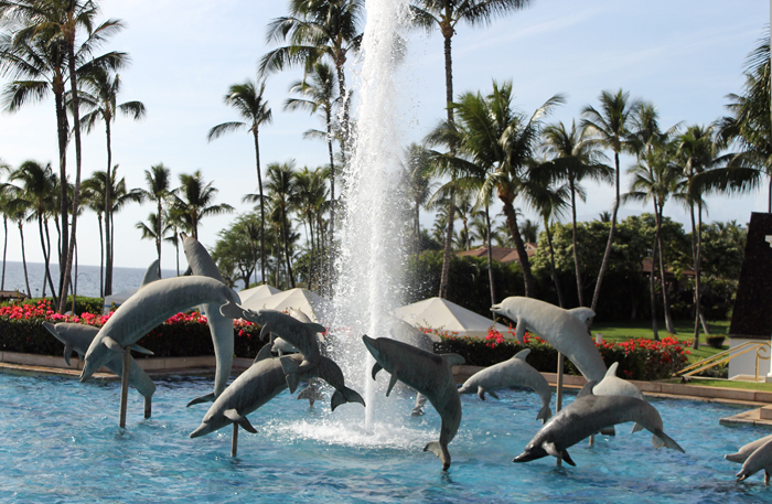 One of the many fountains at the Grand Wailea.