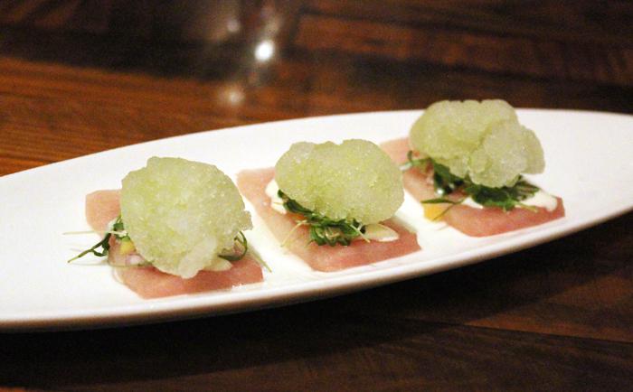 "Hamachi with celery ""shave ice.''"