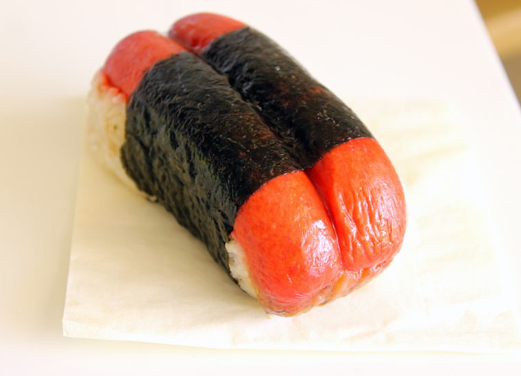 Atomic red hot dog musubi from Foodland market on Maui.