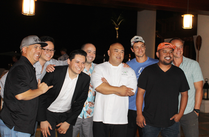 Chefs hamming it up at Cane & Canoe dinner: (L to R) Kyle Kawakami of Maui Fresh Streatery Gourmet Food Truck; Seakyeong Kim of Charlie Palmer's at Bloomingdale's in Costa Mesa; Oscar Torres of Acabar in Los Angeles; Richie Nakano, late of Hapa Ramen in San Francisco; Riko Bartolome of Cane & Canoe; Jeff Scheer of Maui Executive Catering; Sheldon Simeon of Migrant, and Mike Lofaro of Humuhumunukunukuapuaa.