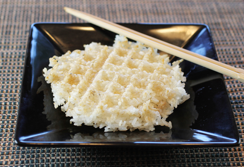 The rice, after it emerges from the waffle iron.