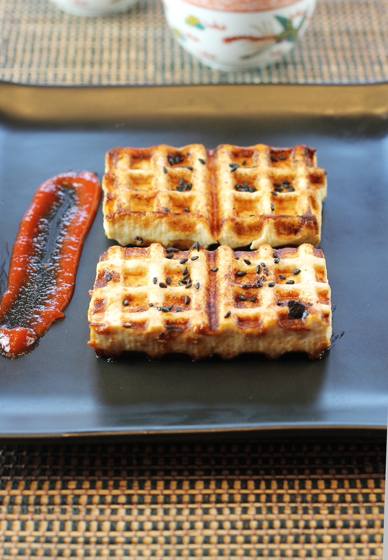 Tofu cooked in a waffle maker. How fun is that?
