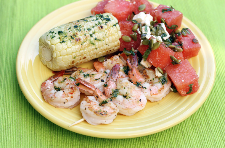 The finished shrimp dish.