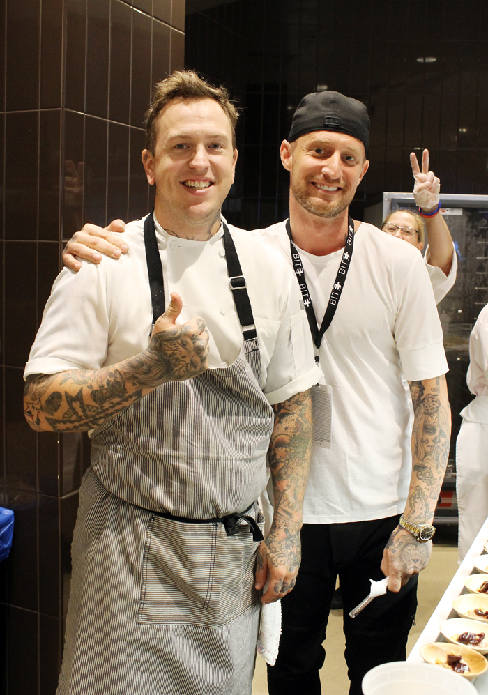 """""""Top Chef'' winner Brian Voltaggio hamming it up with his crew at BITE Silicon Valley. Gee, can you guess why his Los Angeles restaurants are called Ink and Ink.Sack?"""