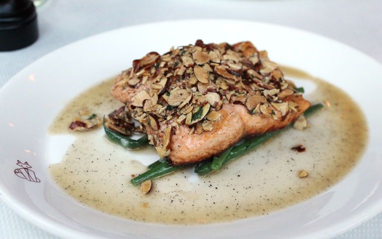 Arctic char crowned with toasted almonds.