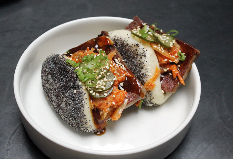 Beef tongue poppy-seed buns at Liholiho Yacht Club.
