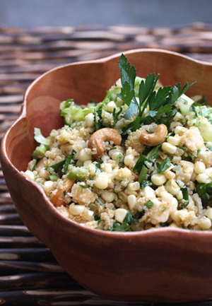 And: Tabouleh With Quinoa, Corn, Scallion, Cashews and Goat Cheese