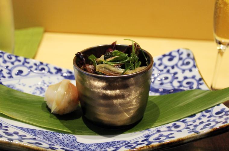 A morsel of sea bream plus a white fish salad with caviar.