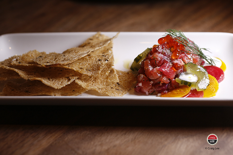 A vibrant salmon tartare. (Photo by Craig Lee)