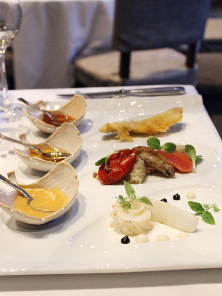 A seafood trio at Michael Mina restaurant.