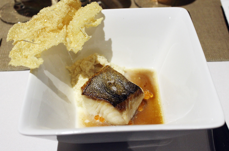 Chef Kim Alter's local balck cod with smoked okara, salmon roe, fried yuba and beef jus.