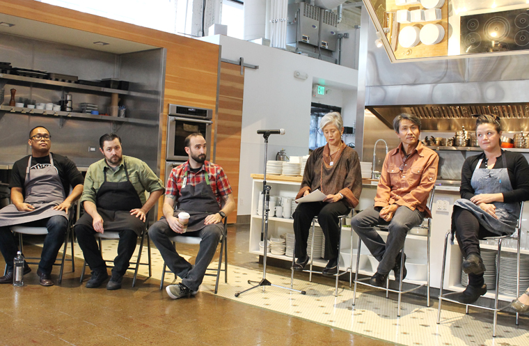 The panel (L to R): Chef Johnny Madriaga, Chef Bill Corbett, Chef Omri Aflalo, Google's Olivia Wu, Hodo Soy Founder Minh Tsai, and Chef Kim Alter. (Not shown, Tara Duggan, San Francisco Chronicle food writer.)