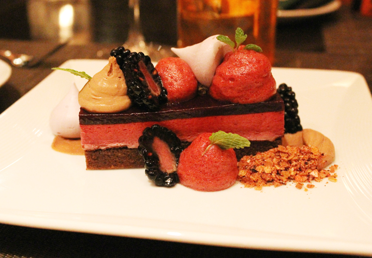 Blackberry chocolate mousse cake.