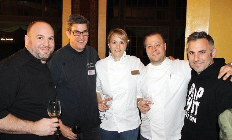 (L to R): Sous Chef Daniel Gomez Sanchez of La Toque, Executive Chef Ken Frank of La Toque, Sarah and Evan Rich of Rich Table, and David Bazirgan of Dirty Habit.