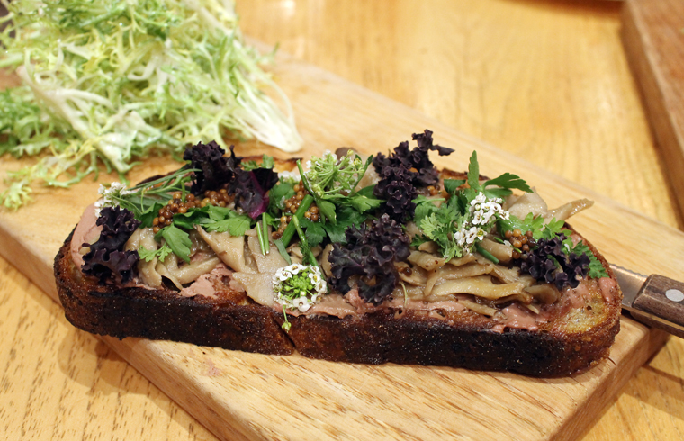 Chicken liver tartine.