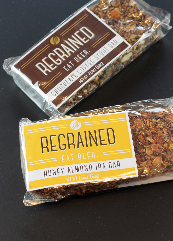 The predominant ingredient in these bars? Spent grain from brewing beer.