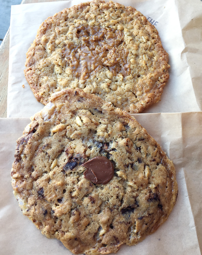 Oatmeal toffee and chocolate chip rice crisp cookies.