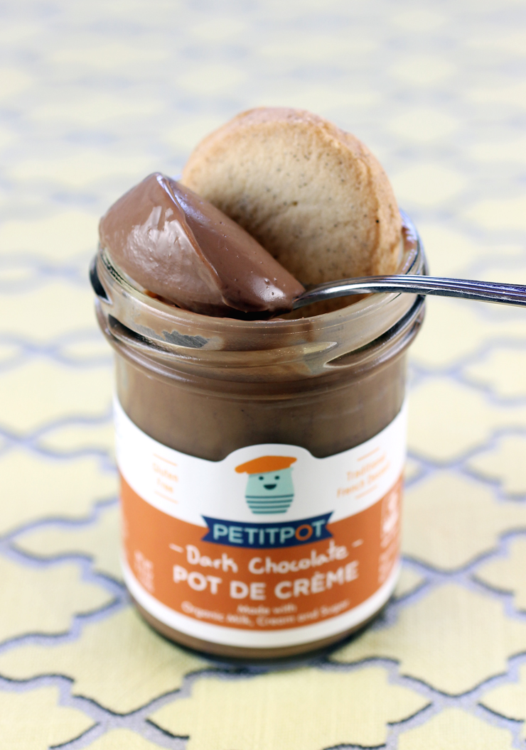 Dark Chocolate Petit Pot with Vanilla French Mini Cookie.