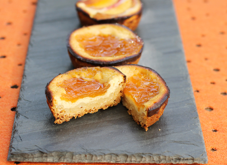 Apricot jam tops an almost-cheesecake-like layer that sits on a tender, buttery crust.