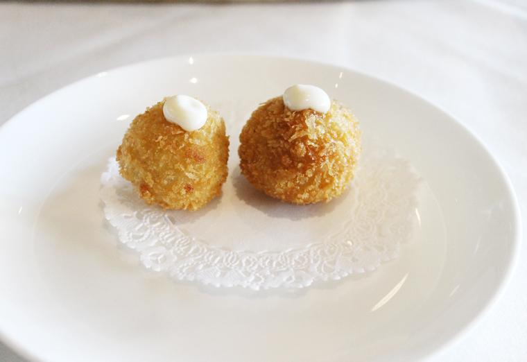 Arancini, warm and crisp on the outside, and creamy inside.