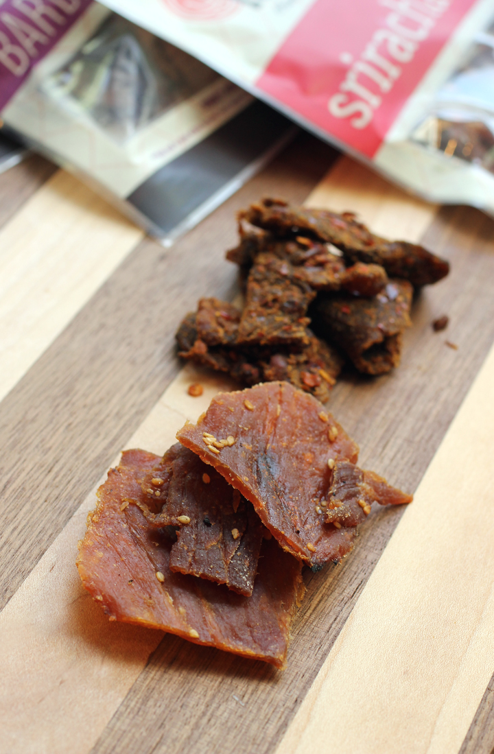 Golden Island Jerky's Korean Barbecue (front) and Kung Pao (back) varieties.