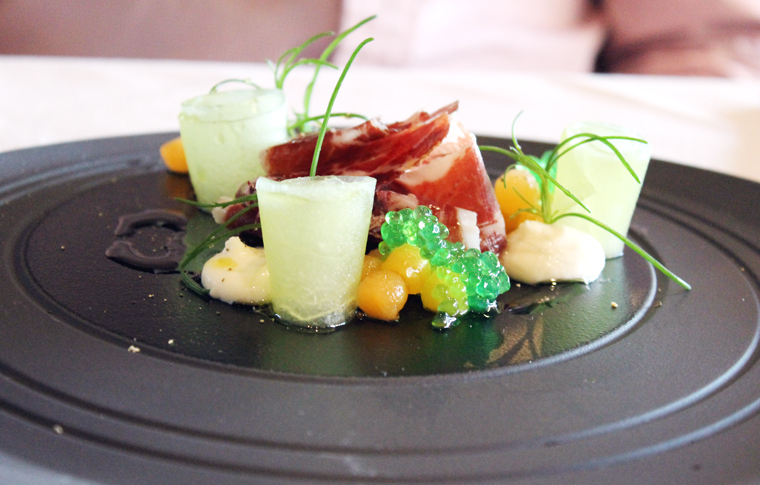 Iberico ham with melon.