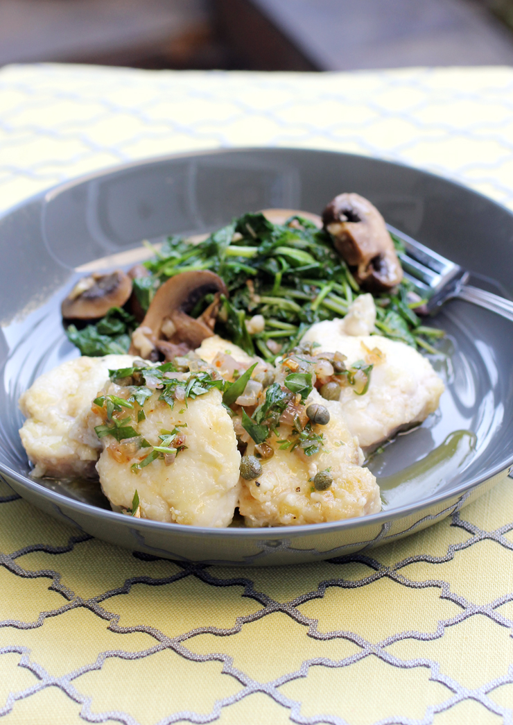A quick way to cook monkfish. Serve with whatever side you like. I did a saute of baby kale and cremini mushrooms.