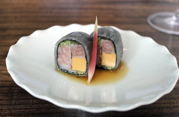 Tuna belly and monkfish liver rolled up in kombu and daikon.