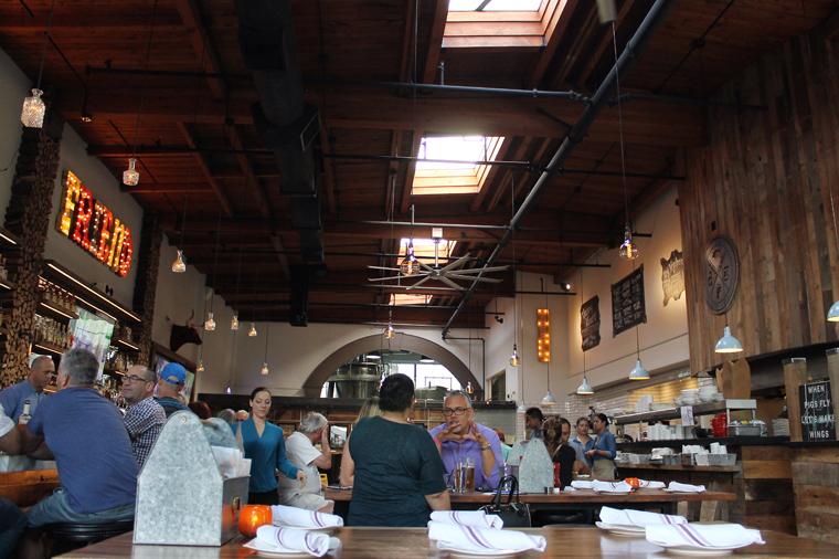 The soaring, barn-like dining room.