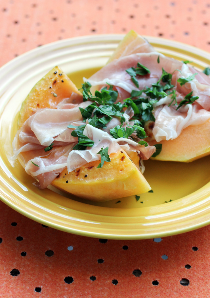 This cantaloupe hides a center of molten mozzarella. Swooning yet?