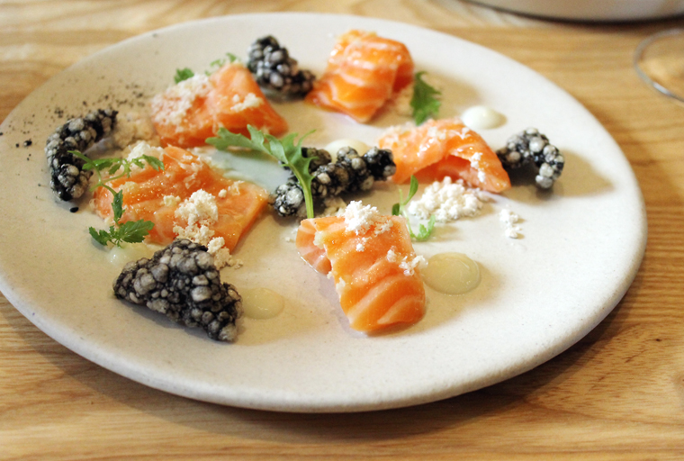 Ocean trout with squid ink chips.