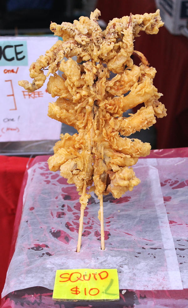 Fried squid on a stick.