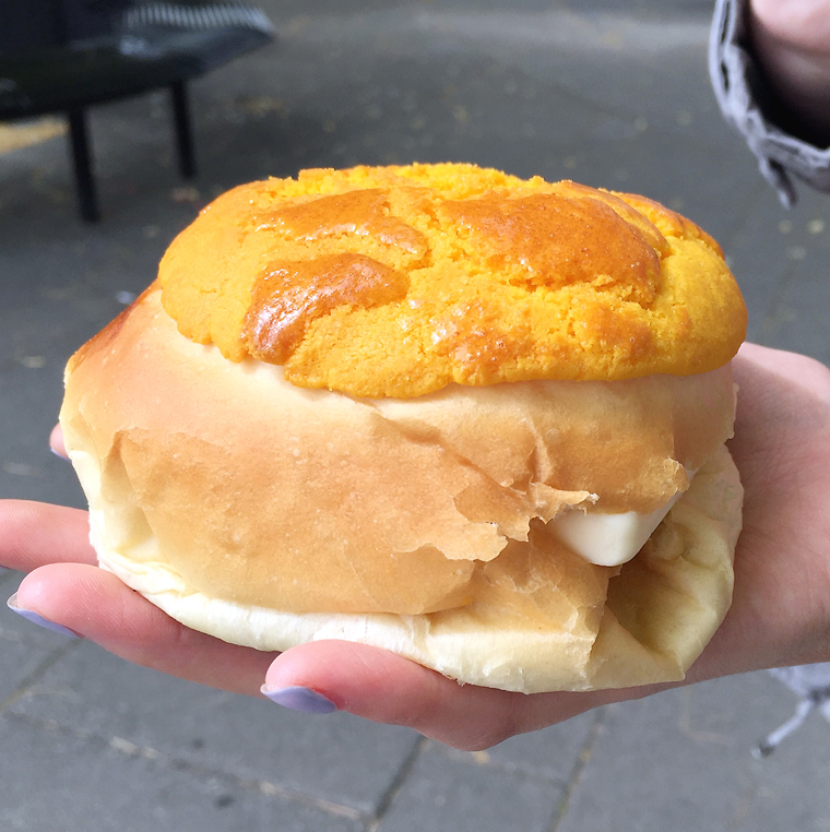 Yes, that's a slab of butter poking out of the bun.