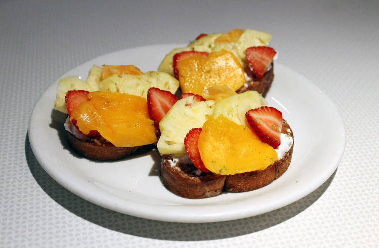 Fruit-topped bruschetta.