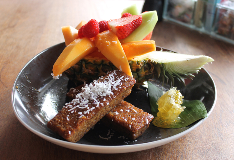 Brunch -- local fruit, banana bread and honeycomb -- is served at the Four Seasons Oahu.