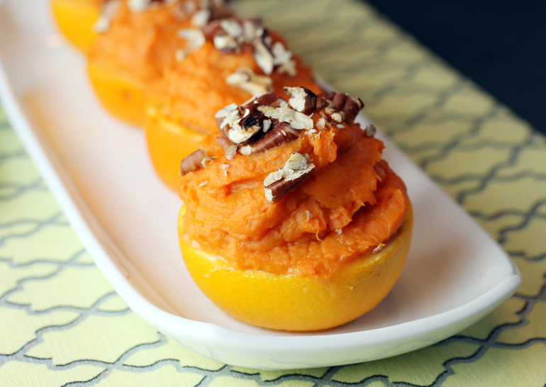 Sweet potatoes imbued with coconut and orange flavor.