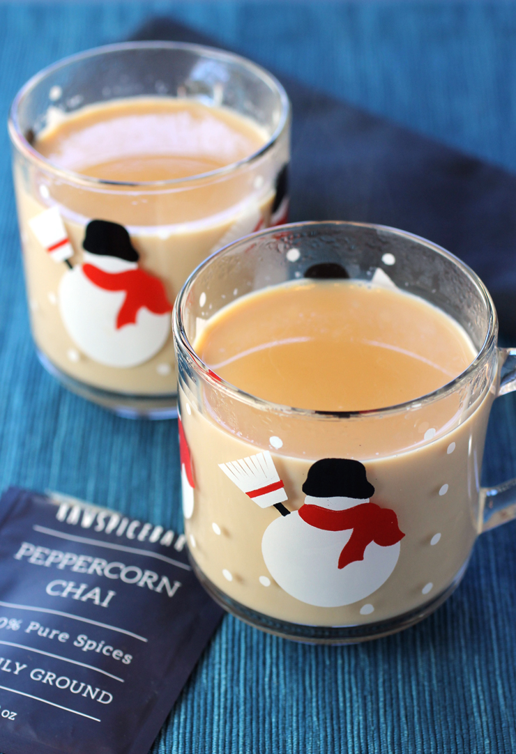 Masala chai made with RawSpiceBar's recipe and peppercorn chai blend.