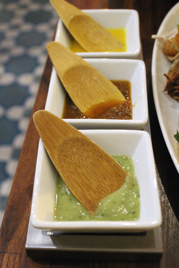 Three salsas to embellish the tacos.