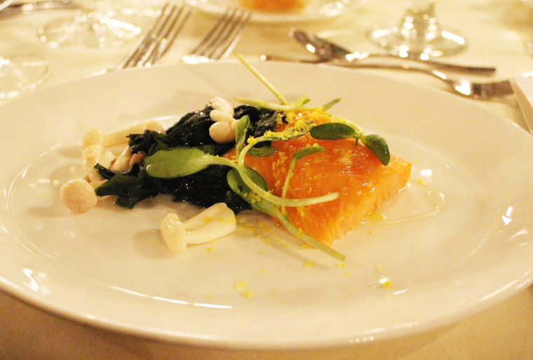 A dazzling salmon and seaweed dish.