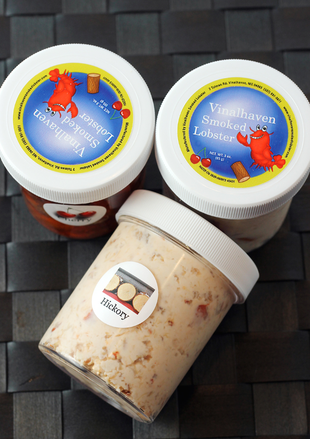 The sampler pack includes four small containers so you can try both dips and both styles of smoked lobster.