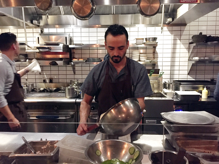 Sitting at the counter, you are up close and personal with the cooks preparing your food.