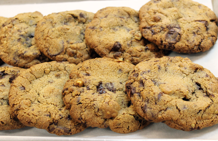 Just-baked chocolate-chunk cookies.