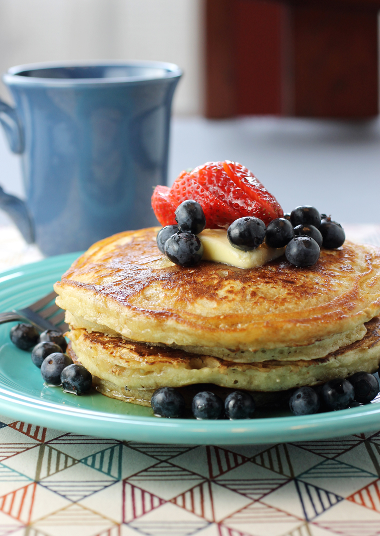Fluffy, oat-fortified pancakes to greet the day.