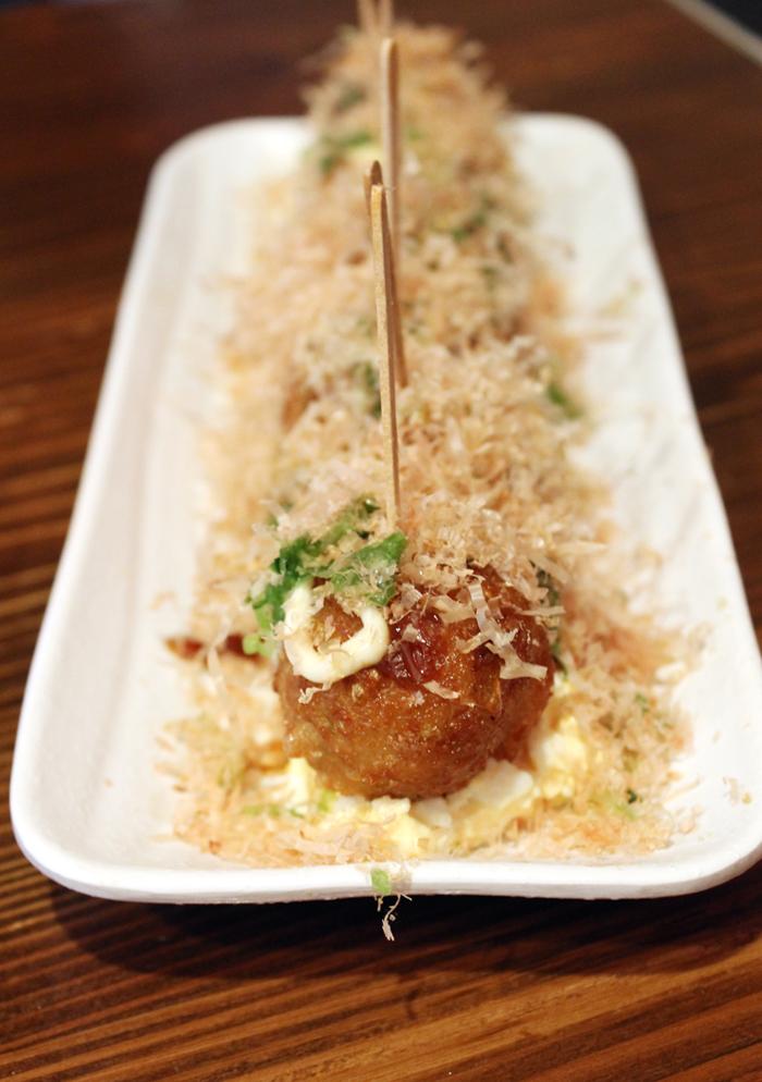 Takoyaki on egg salad. Yes, and it works.