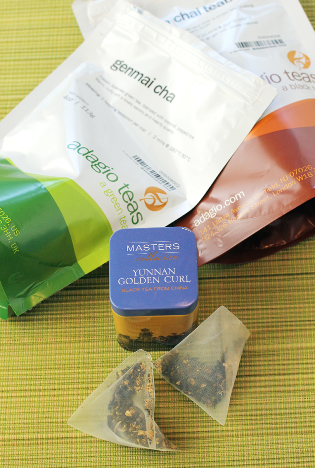 Adagio Teas can be ordered loose leaf or in pyramid-type teabags. You also get options for the amount of tea to purchase.