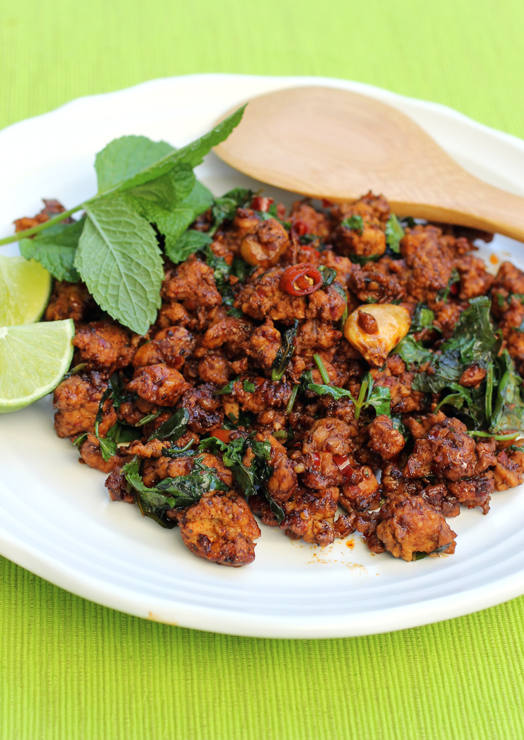 Loads of mint and cilantro give this minced chicken dish vibrancy.