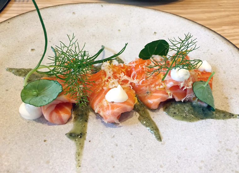 Salmon with horseradish.