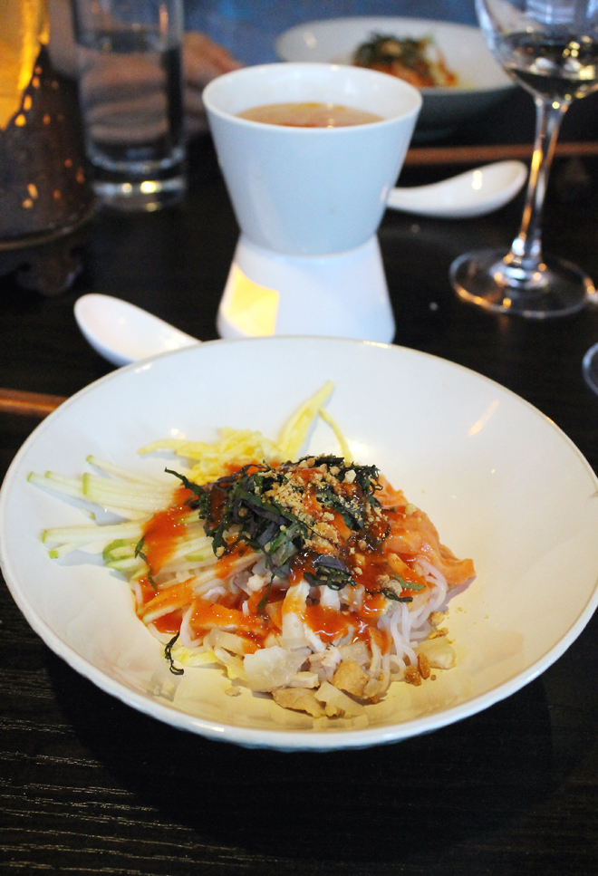 Rice noodles with salmon ceviche (forefront), with tomato-shrimp consomme (back).